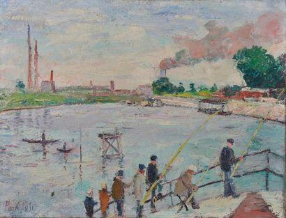 Paul PETIT (1885-1960). Les Pêcheurs. Huile sur toile signée en bas à gauche (perforation)....