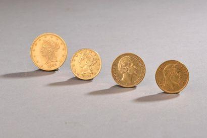 Ensemble de pièces en or comprenant : - 20...