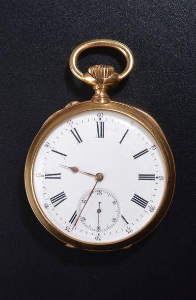 Montre de gousset chronomètre en or jaune 18k, le fond uni à décor gravé d'un monogramme,...