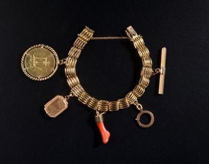Bracelet en or jaune 18k à maille grain de...