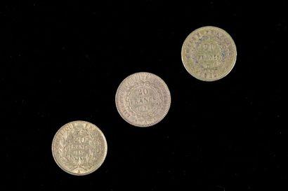 Trois pièces en or de 20 Francs datées de...