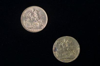 Deux souverains en or datés de 1891 et 1893....