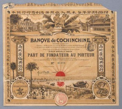 BANQUE DE COCHINCHINE    Lot de 2 titres:...