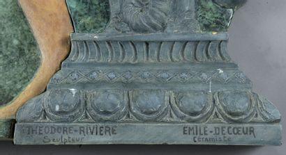 Théodore RIVIERE (1857-1912) et Emile DECOEUR (1876-1953). Exceptionnel bas-relief...