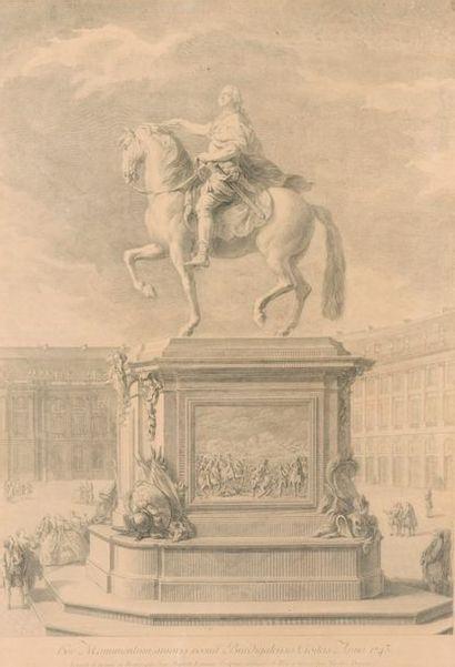 D'après J.B LEMOINE. Monument équestre de Louis XV. Gravure encadrée, anno 1743 gravée par Nicolas DUPUIS. Dim: 75x53 cm (à vue).