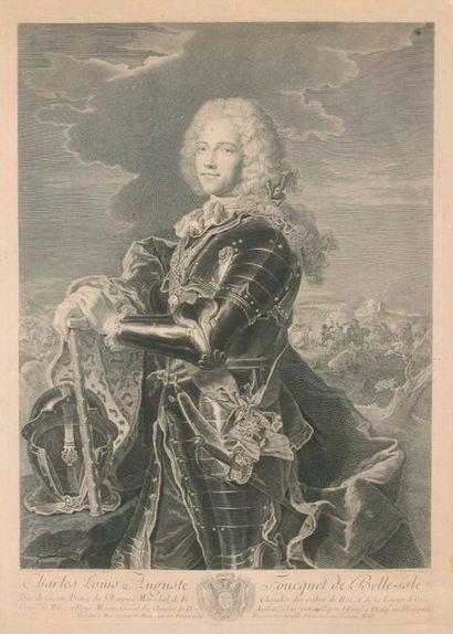 Charles Louis Auguste FOUQUET de BELLE-ISLE  Gravure encadrée par Georges WILL (1743). Dim: 51x37 cm (à vue).