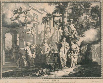 D'après G.D LAIRESSE. Gravure encadrée Aetas Aurea par A. BLOOTELING . Dim: 41x51 cm (à vue)