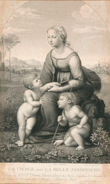 D'après RAPHAËL. La Belle jardinière. La Vierge au berceau.  Deux gravures encadrées. Dimensions: 46x29 cm (à vue).