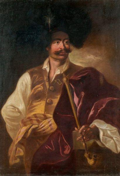 Ádám MÁNYOKI (Szokolya, 1673 – Dresde, 1757), entourage de Portrait d'un gentilhomme hongrois fumant une pipe longue Huile sur toile (rentoilé, restaurations anciennes) Numéroté au revers de la toile 2786 Sur le châssis, une étiquette portant le numéro 23.269  132,5 x 92,5 cm Le plus important
