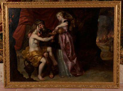 École flamande du XVIIe siècle Loth et ses filles Huile sur toile encadrée (rentoilé,...