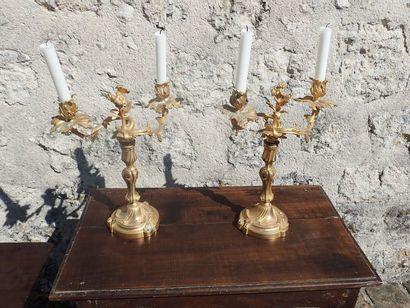 Paire de flambeaux de style Louis XV en bronze doré à deux bras de lumières.