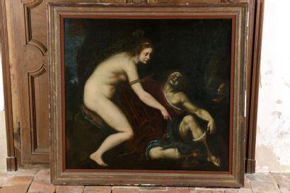 École florentine du XVIIe siècle Vénus découvrant Adonis mort Huile sur toile (restaurations...