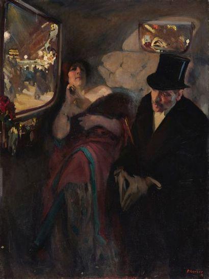 Pierre GERBER (1887-?). Le fiacre à la sortie...