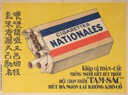 1935  Cigarettes Nationales.  Affiche lithographique...