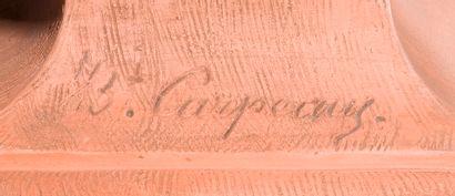 Jean-Baptiste CARPEAUX (1827-1875).  Le rieur aux pampres. Buste en terre cuite...