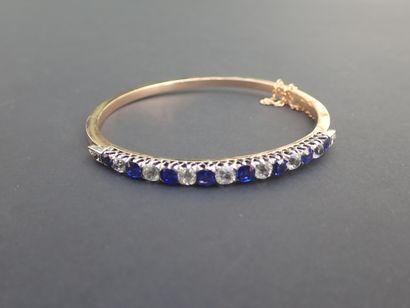 Bracelet jonc ovale en or rose (750/00°)...