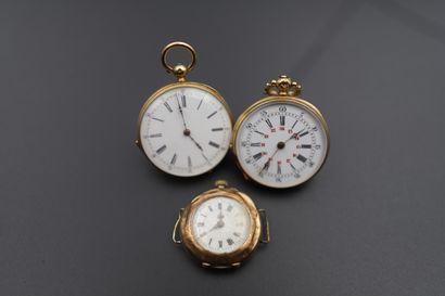 Lot de trois montres de poche en or 750°/°°...