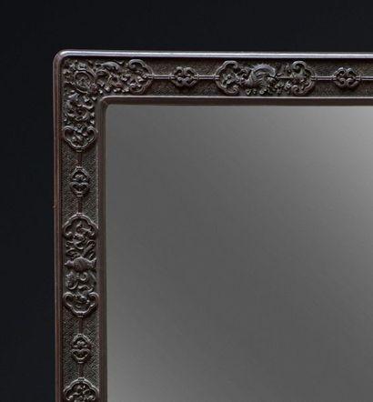 Miroir en zitan de forme rectangulaire aux angles légèrement arrondis, finement...
