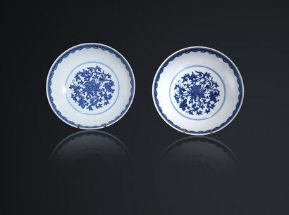 Paire de coupes en porcelaine bleu blanc...