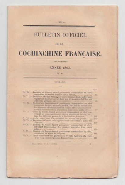 1863  Un ensemble de 18 bulletins officiels...