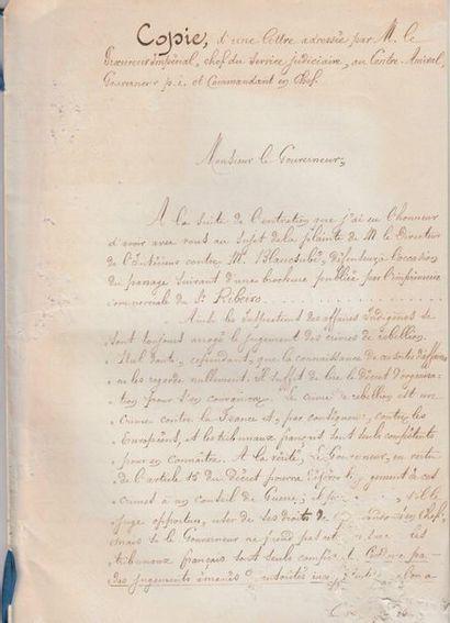 1867  Copie d'une lettre adressée par M....