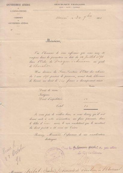 1891-1898  Décorations officielles.  Un ensemble...
