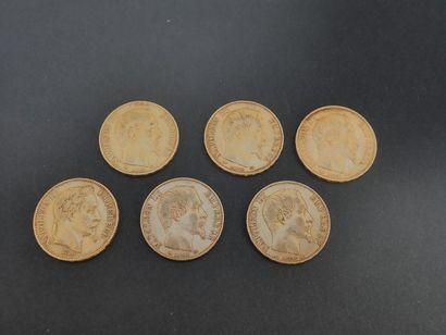 France. Six pièces de 20 francs or Napoléon...