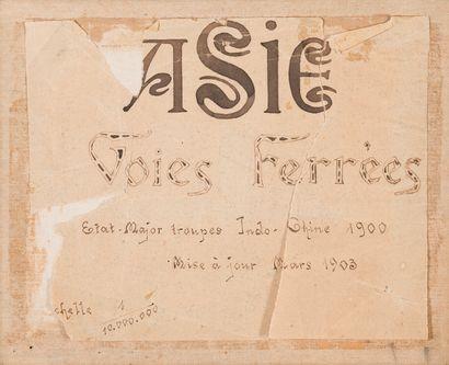 1900.  Chine, voie ferrées.  Carte lithographiée...