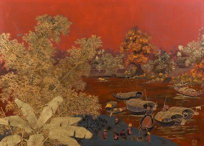 DINH VAN DAN (XXe)  Les sampans sur la rivière....