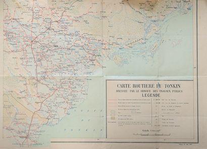 1921. Carte routière du Tonkin,  Carte en...
