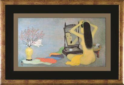 Mai Thu (1906-1980).  Nu au chat.  Reproduction...
