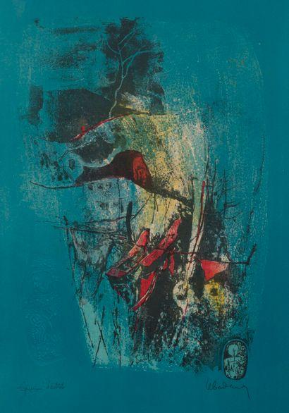 Dang LEBADANG (1921-2015). Paysage aux sampans....