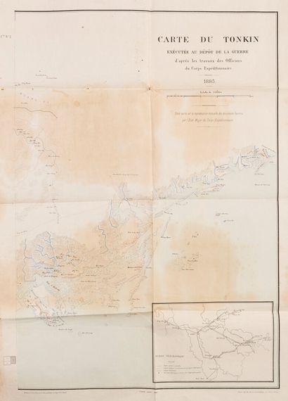 1880 / 1885. Deux cartes  Carte du Tonkin, exécutée au dépôt de la guerre, d'après...