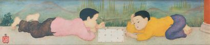 Mai Thu (1906-1980).  Les deux enfants jouant....