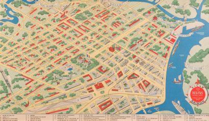 1950  Plan couleurs illustré de Saïgon, encadré....
