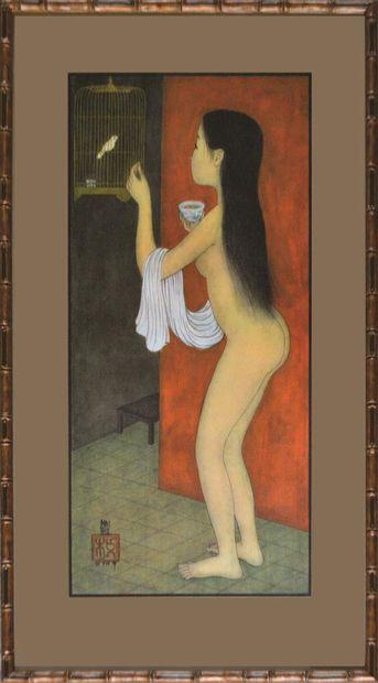 Mai Thu (1906-1980).  Nu à la cage dorée....