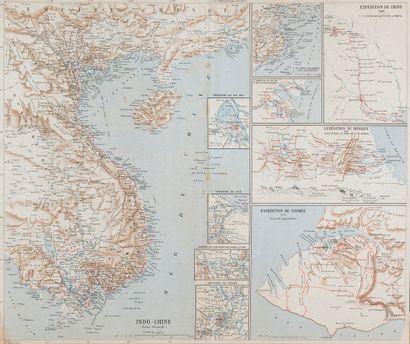 1880 / 1885. Deux cartes  Carte du Tonkin,...