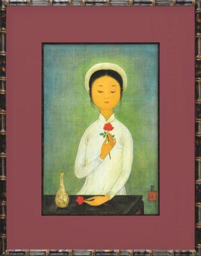 Mai Thu (1906-1980).  Jeune fille à la fleur....