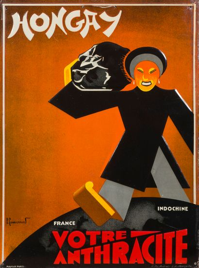 1930. HONGAY, VOTRE ANTHRACITE  Plaque publicitaire...