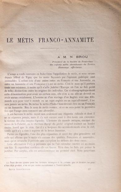 1907  La Revue Indo-Chinoise.  Un lot de 13 numéros suivis du 30 juin au 30 décembre...
