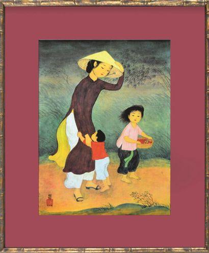 Mai Thu (1906-1980).  Le coup de vent. Reproduction...