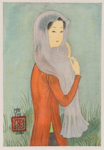 MAI-THU (1906-1980).  Femme au voile. Impression...