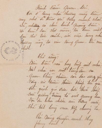 1912  Poème inédit de Nguyen Sanh Huy, père...
