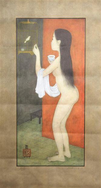 Mai Thu (1906-1980).  Nu à l'oiseau.  Reproduction...
