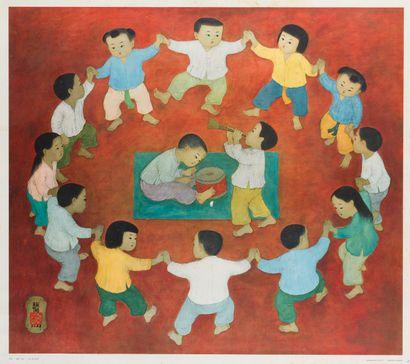 MAI THU (1906-1980). La ronde d'enfants....