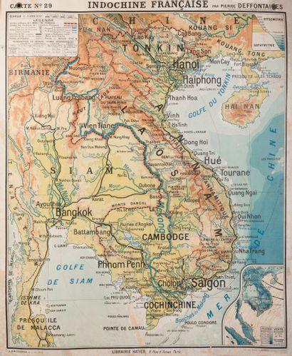 1940. Carte Indochine Française par Pierre Desfontaines.  Carte n°29. Au recto :...