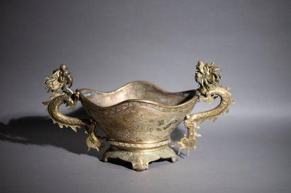 Brûle-parfum tripode en bronze de forme mouvementée,...