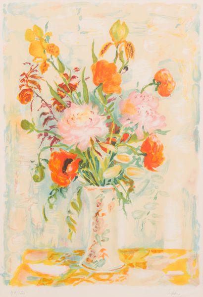 Lê Pho (1907-2001)  Fleurs dans un vase  Lithographie...