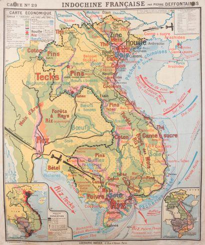 1940. Carte Indochine Française par Pierre...
