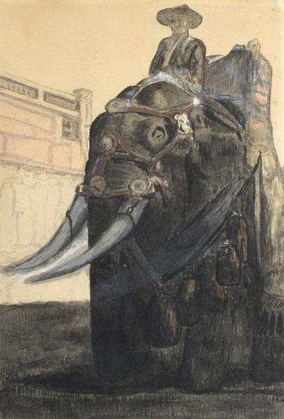 PAUL JOUVE (1878-1973).  ELEPHANT CAPARAÇONNE...